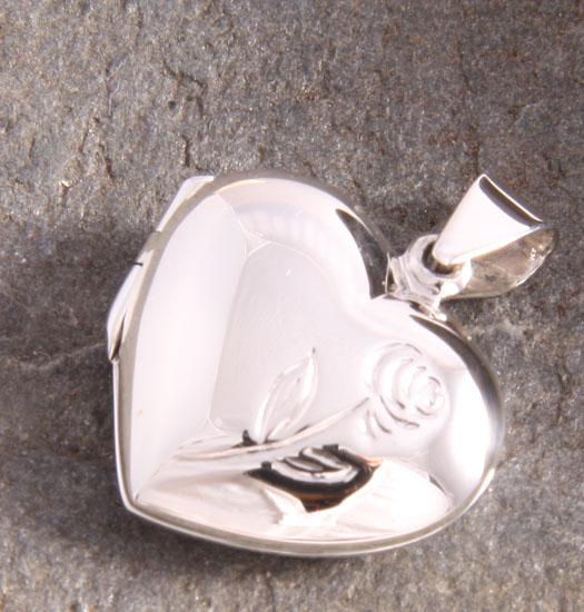 Zilveren Medaillon Hart & Roos