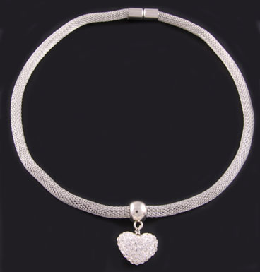 Ketting Snake and strass heart