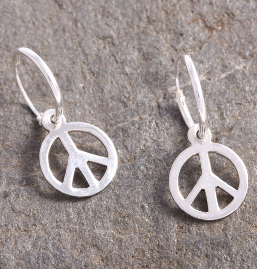 Silver Luck Charm Earring Peace