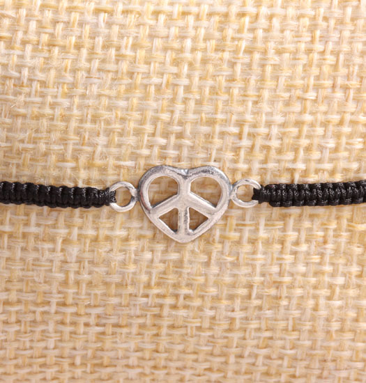 Zilver Peace of Love aan Pull Rope Armband