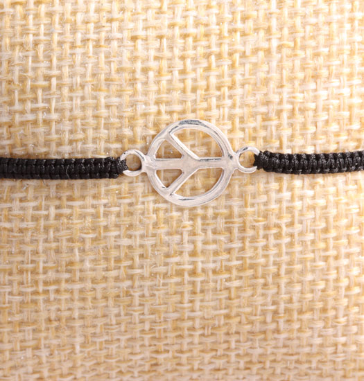 silver peace sign on Pull Rope Bracelet