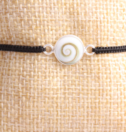 Real Shell in set Silver on Pull Rope Bracelet