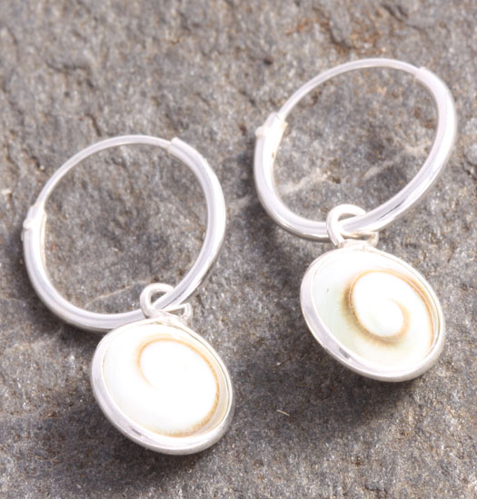 Silver Luck Charm Earring Shell