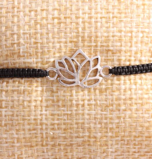 Zilveren Lotus aan Pull Rope Bracelet