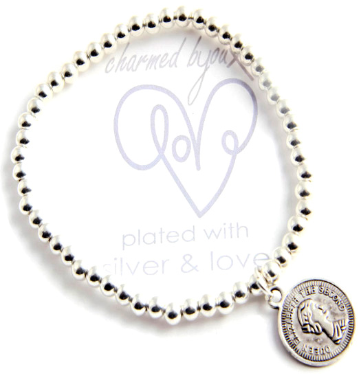 Bracelet silver plated - coin