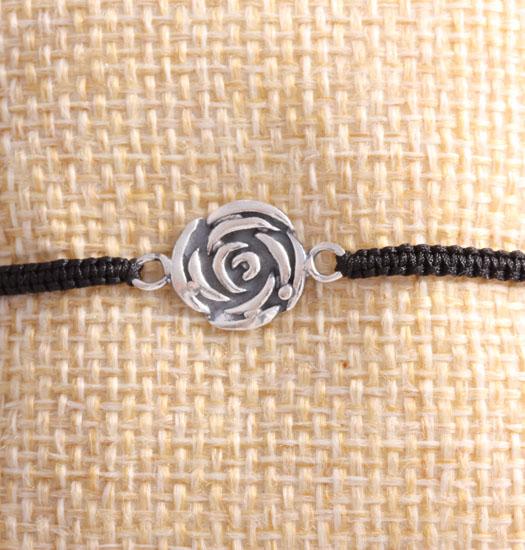 Silver Rose on Pull Rope Bracelet