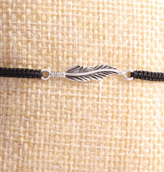 Zilveren Veer aan pull rope Armband