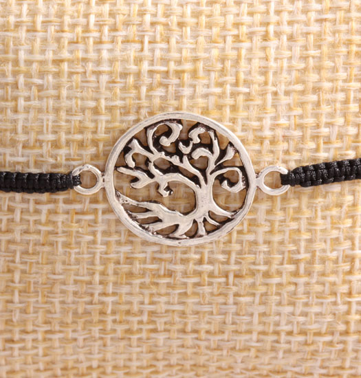 Zilveren Tree of Life II & Pull Rope Armband