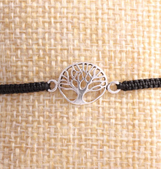 Silver Tree of Life I on Pull Rope Bracelet