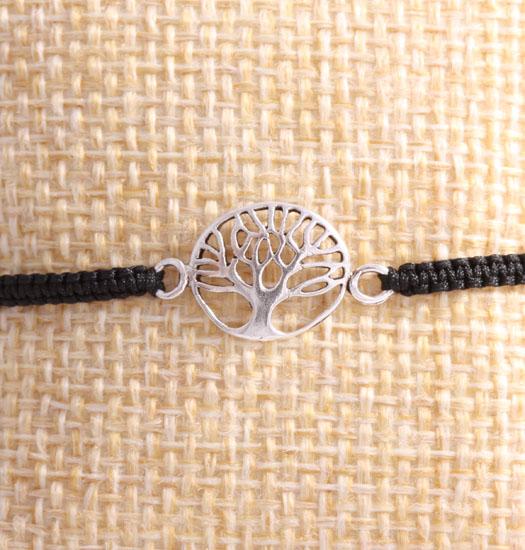 Zilveren Tree of Life aan pull rope armband